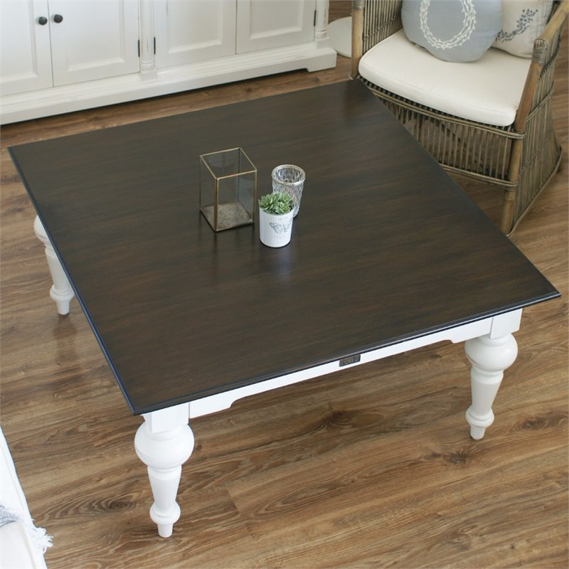 novasolo provence accent coffee table in pure white and dark wood