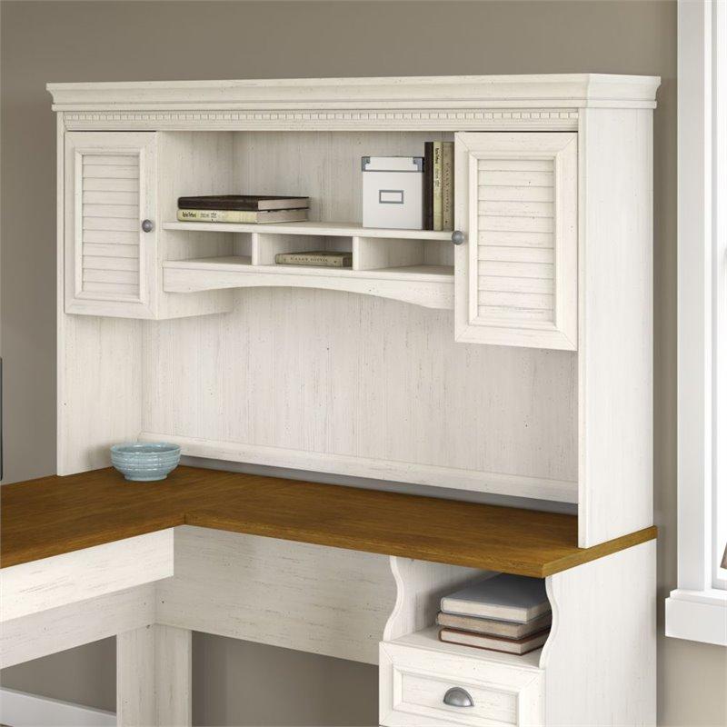 Bush Fairview Hutch For L Shaped Desk In Antique White