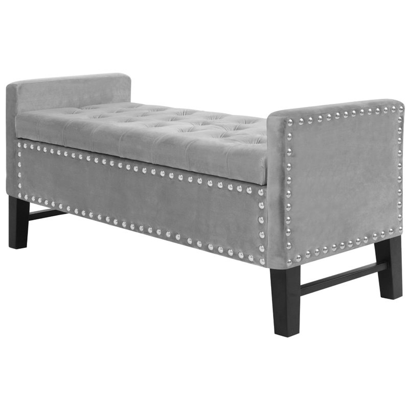 posh living genesis tufted velvet storage bench with nailhead trim in gray