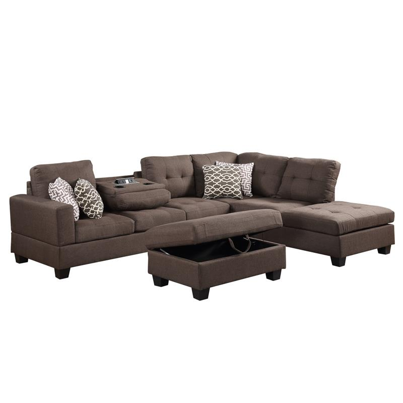 lilola home kourtney fabric sectional with console and storage ottoman in brown