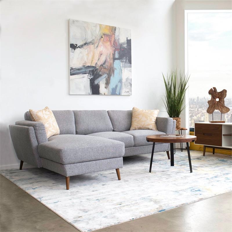 mid century modern sadie gray sectional sofa left chaise