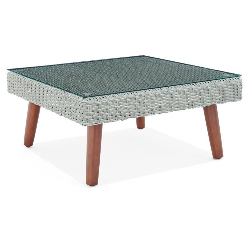 albany all weather wicker outdoor gray 29 square coffee table with glass top