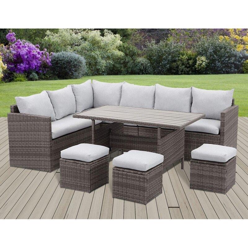 sunvivi 7pc gray pe wicker rattan patio dining sectional sofa set in gray