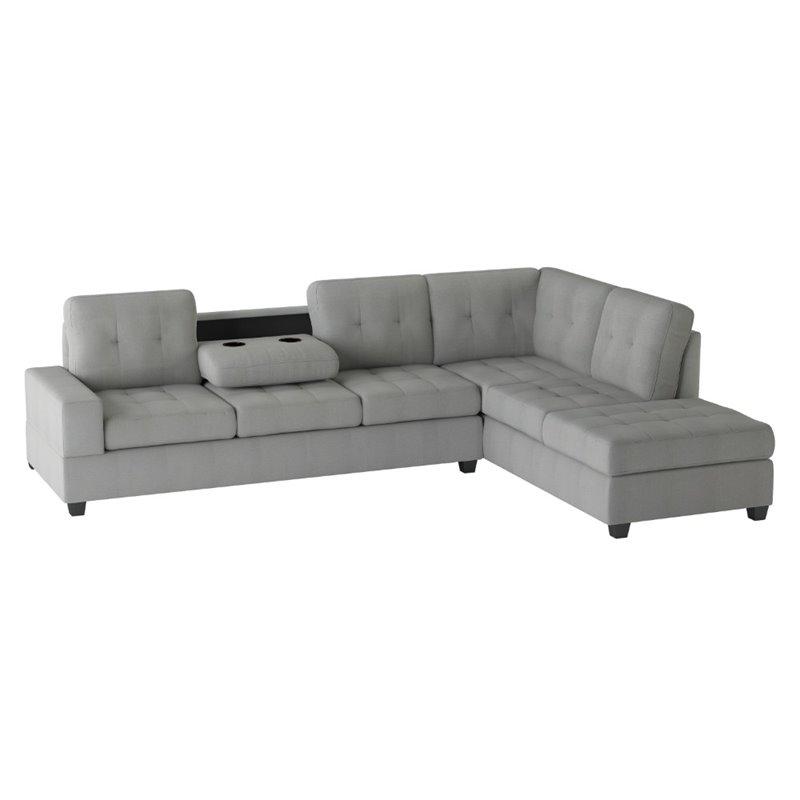 lexicon maston microfiber sectional sofa in gray