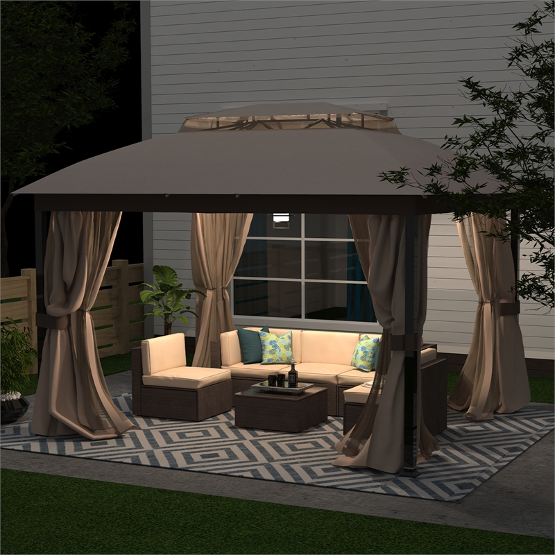 10x12 mosquito netting outdoor gazbeo canopy double roof vented in sand