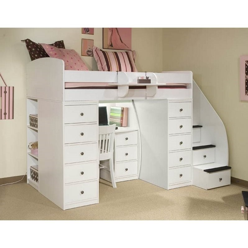 Berg Furniture Sierra Space Saver Twin Loft Bed With Desk