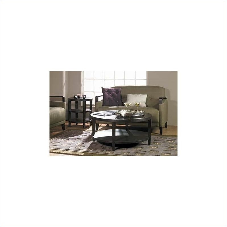 merge 36 inch round espresso wood and wood veneer coffee table