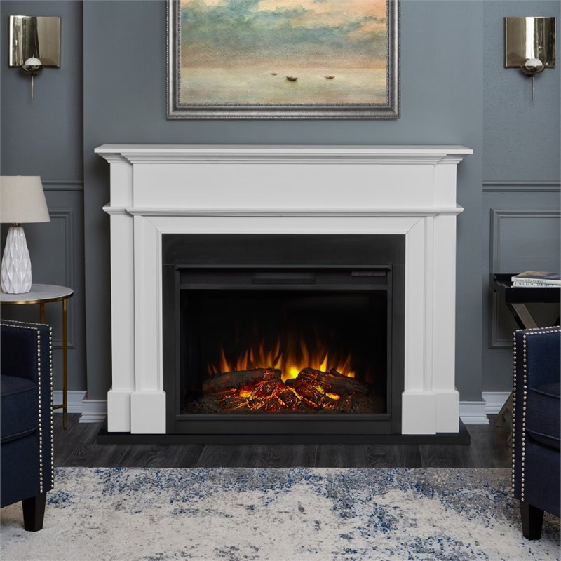 Real Flame Harlan Grand Electric Fireplace In White 8060E W