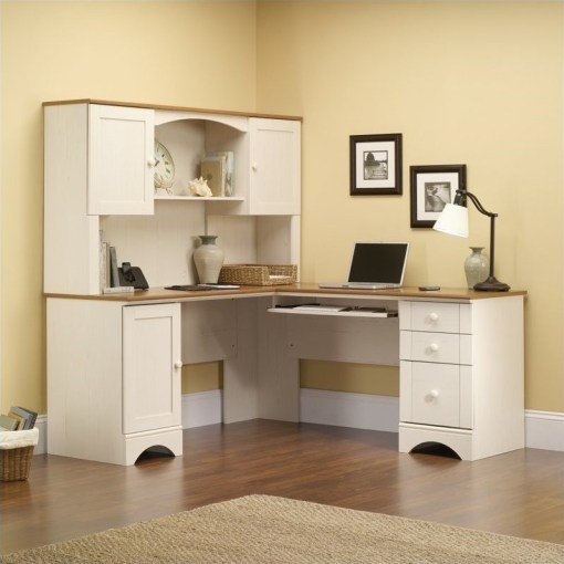 Corner Computer Desk in Antiqued White   403793 Corner Computer Desk in Antiqued White