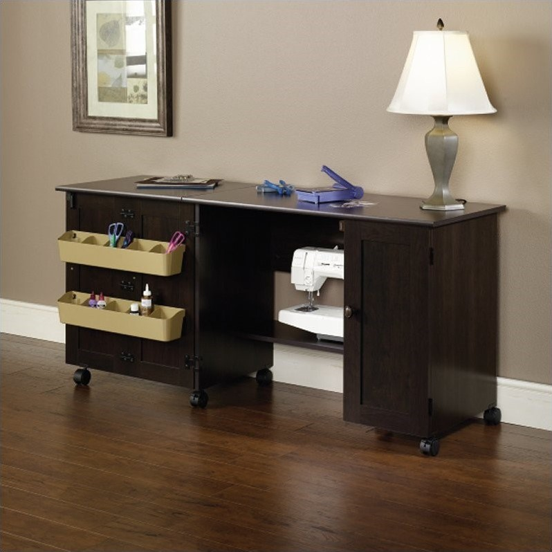 sauder craft and mobile sewing cart in cinnamon cherry
