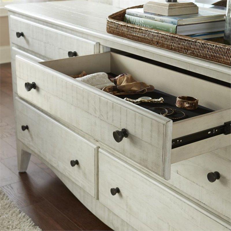 modus ella 6 drawer solid wood dresser in weathered white wash