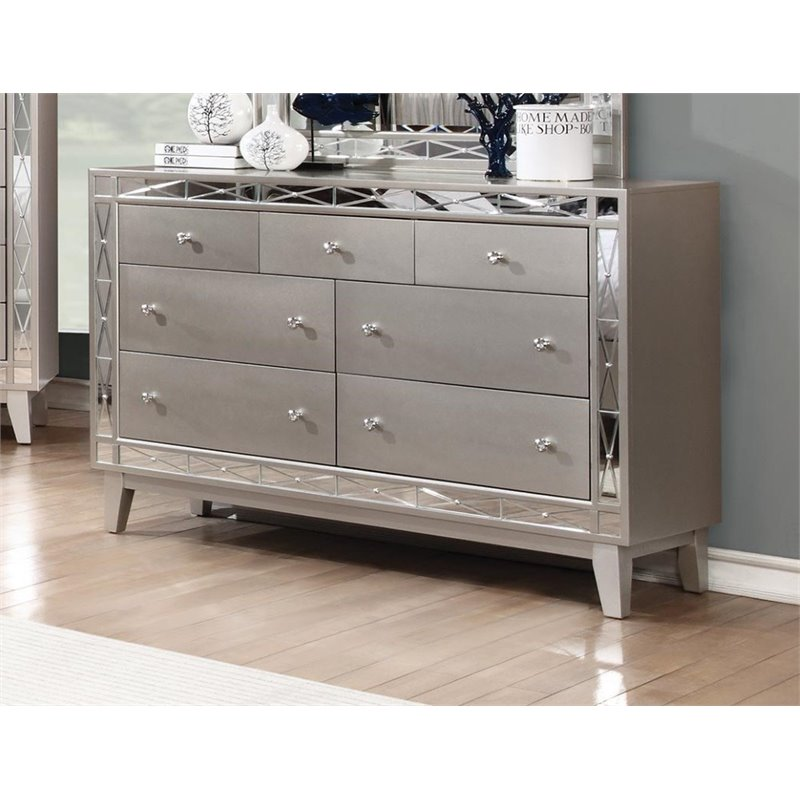 coaster leighton 2pc mirrored dresser and nightstand set in silver