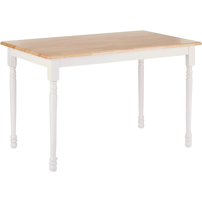 coaster damen square tile top dining table in white and natural brown