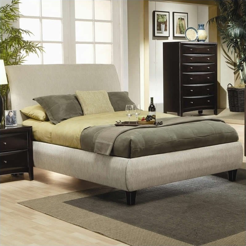 Upholstered Bed in Tan-California King