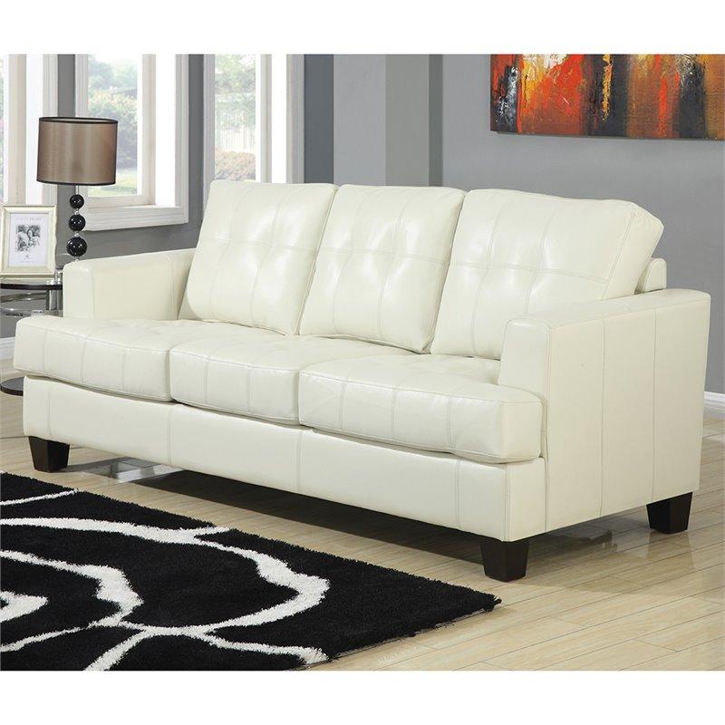 Coaster Samuel Leather Sleeper Sofa In Cream 501690