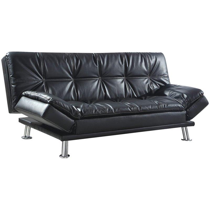 coaster dilleston faux leather sleeper sofa in black and chrome
