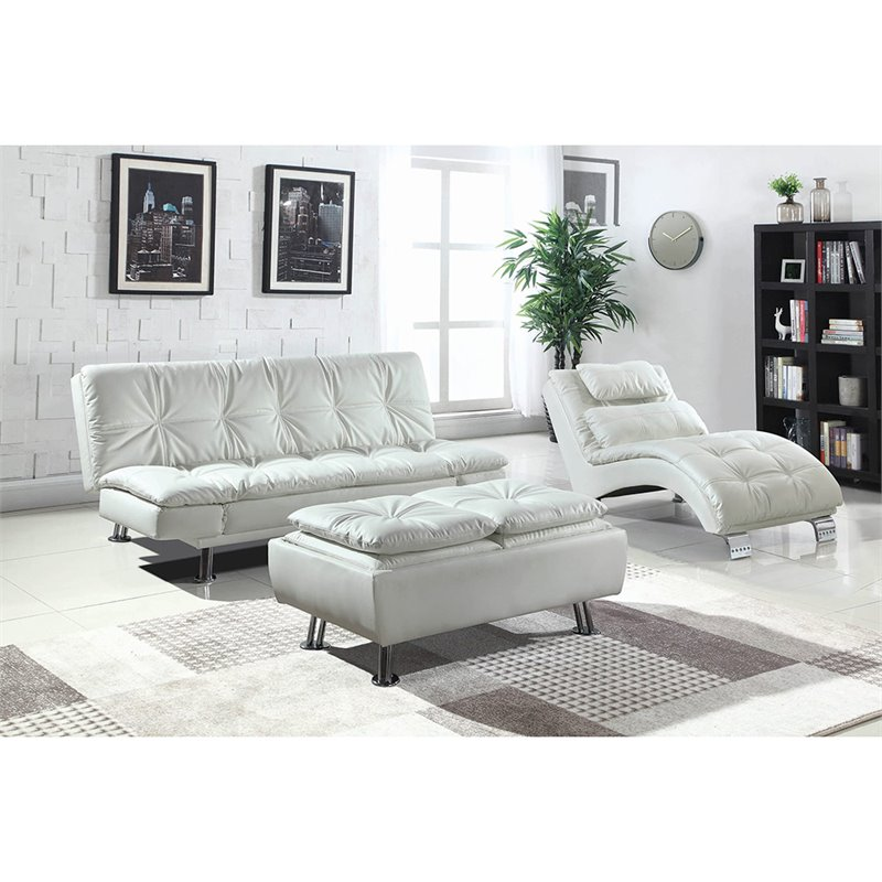 coaster dilleston faux leather tufted chaise lounge in white