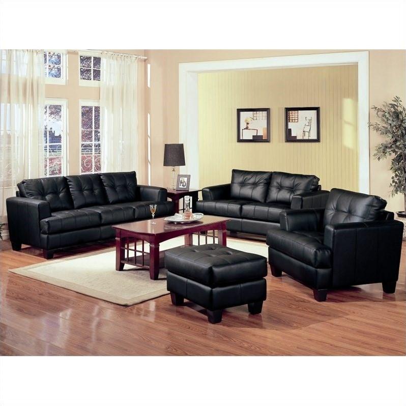 Coaster Samuel 3 Piece Leather Sofa Set In Black 50168x
