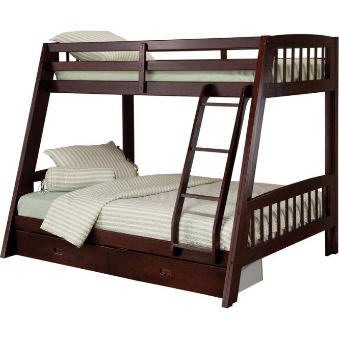 Hilale Rockdale Twin Over Full Bunk Bed Set In Espresso