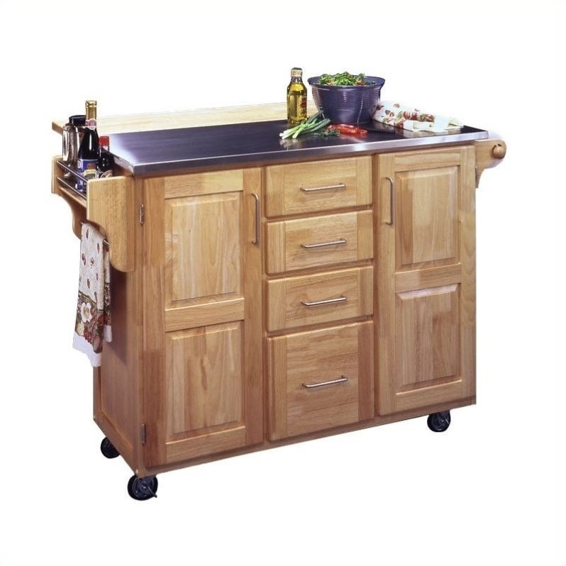 home styles stainless steel kitchen cart with breakfast bar in natural finish