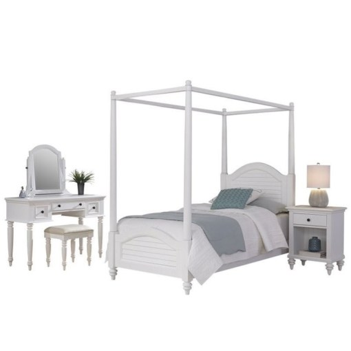 Twin Canopy Bed 4 Piece Bedroom Set in White   5543 4106 Twin Canopy Bed 4 Piece Bedroom Set in White
