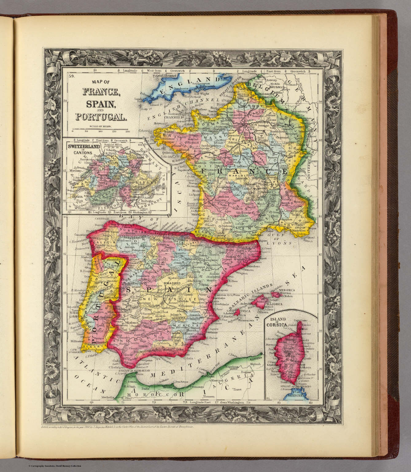 Map Of France  Spain  And Portugal    David Rumsey Historical Map     Map Of France  Spain  And Portugal