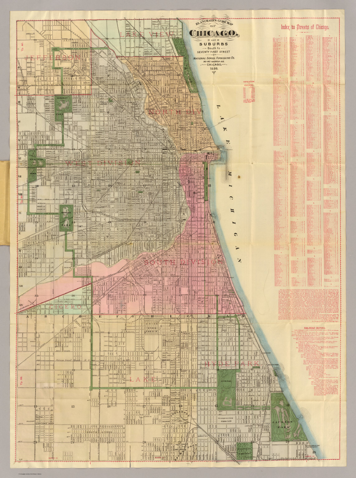 Blanchard s guide map of Chicago    David Rumsey Historical Map     Blanchard s guide map of Chicago