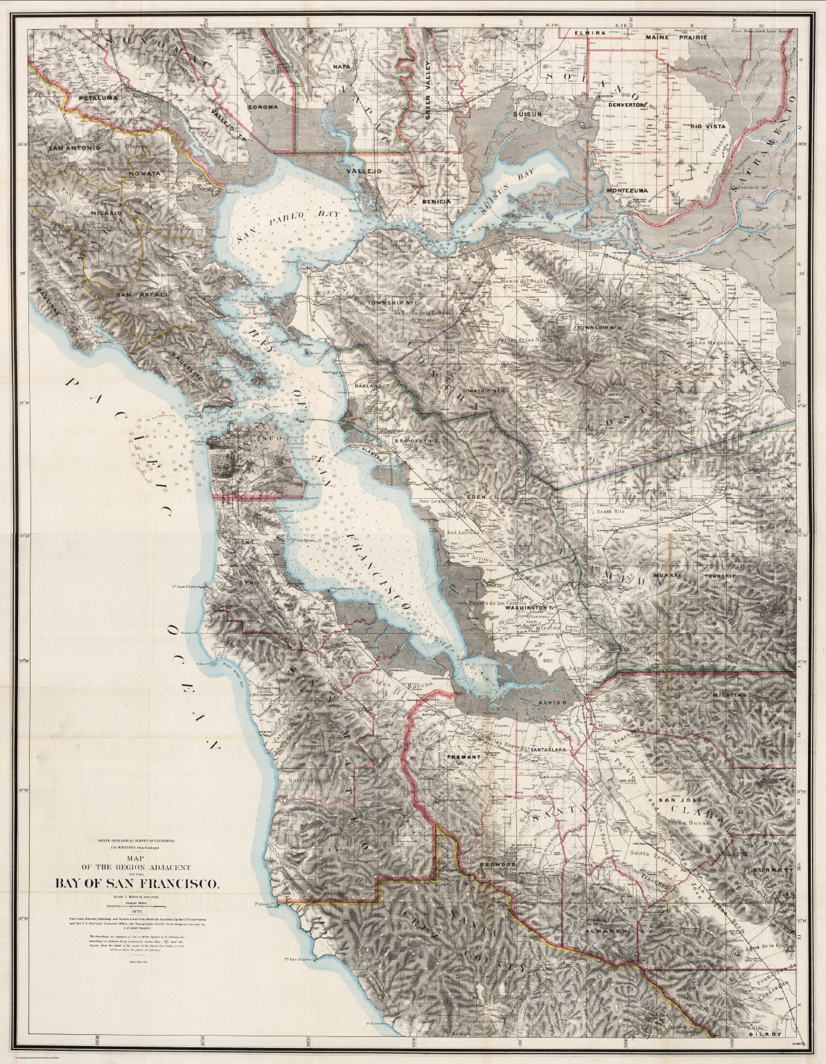 Composite Map Of The Region Adjacent To The Bay Of San Francisco David Rumsey Historical Map Collection