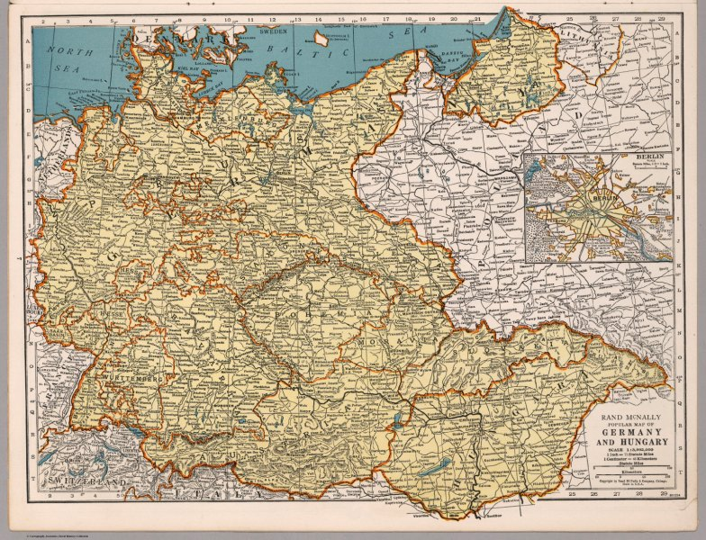 Rand McNally Popular map of Germany and Hungary   David Rumsey     Rand McNally Popular map of Germany and Hungary