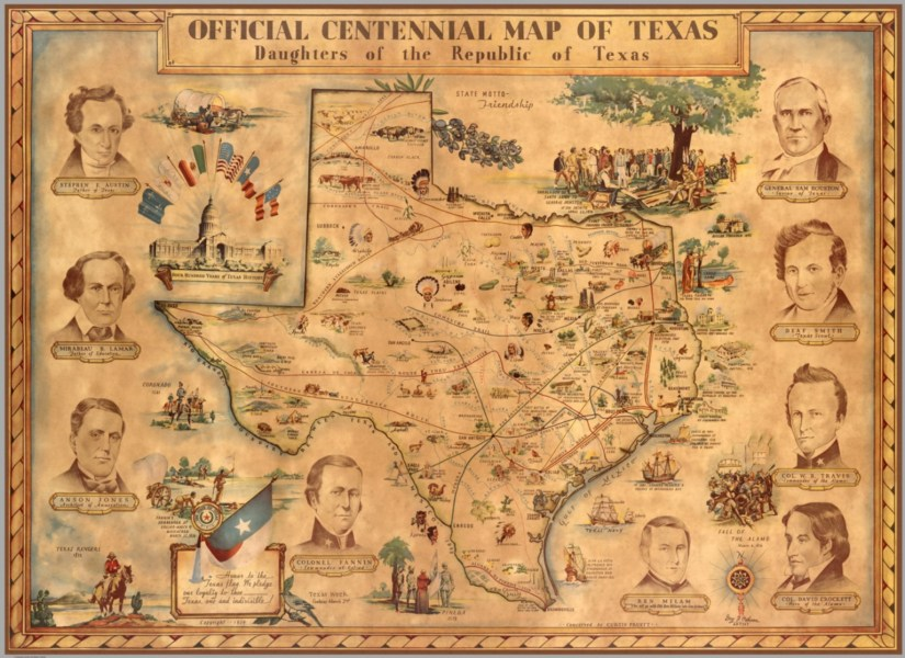 Official Centennial Map of Texas  Daughters of the Republic of Texas     Official Centennial Map of Texas  Daughters of the Republic of Texas