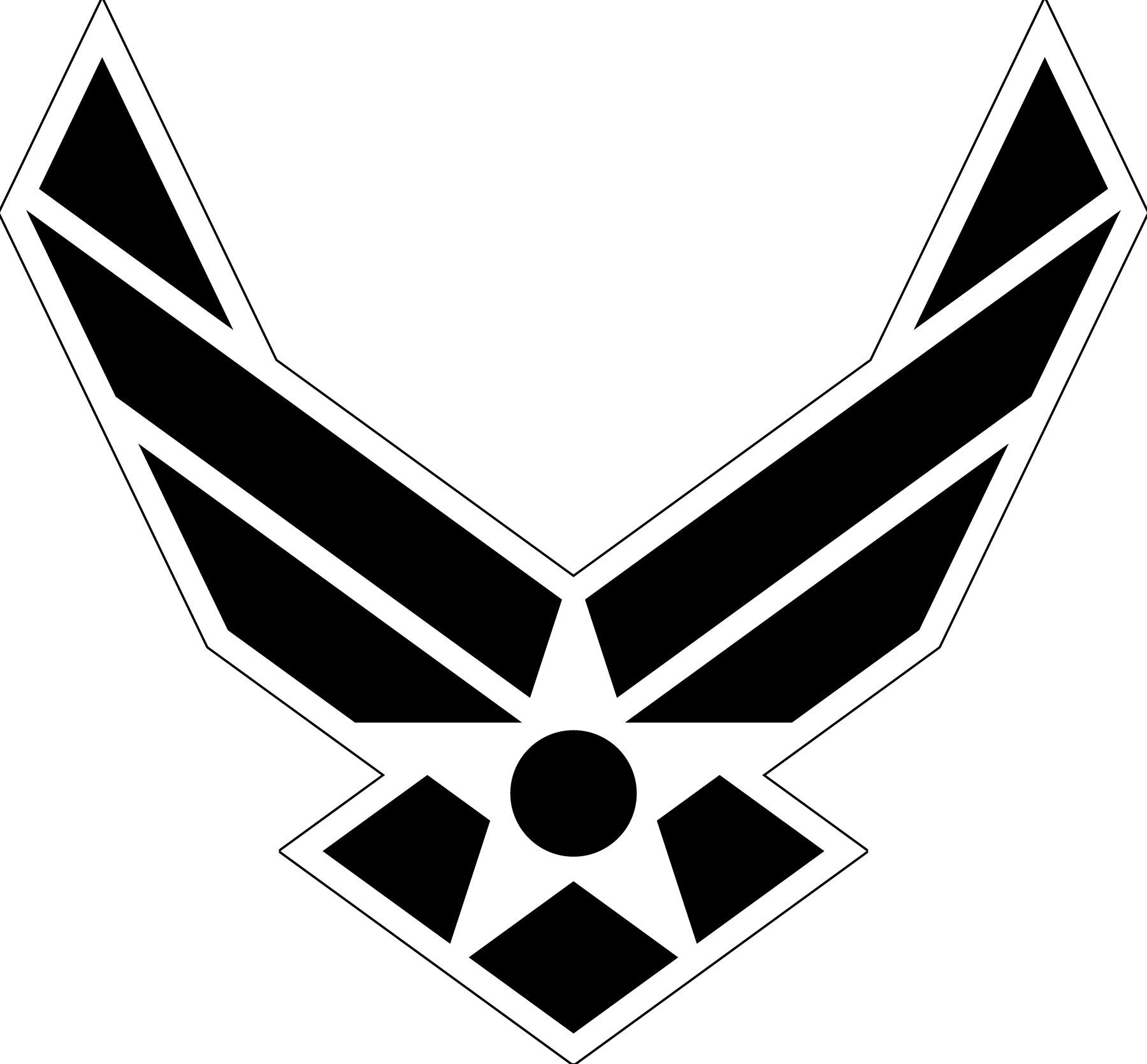 Air Force Symbol Black With White Outline