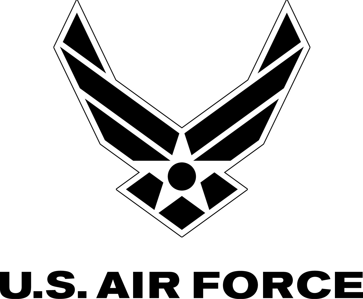 Air Force Symbol With Logotype Black With White Outline