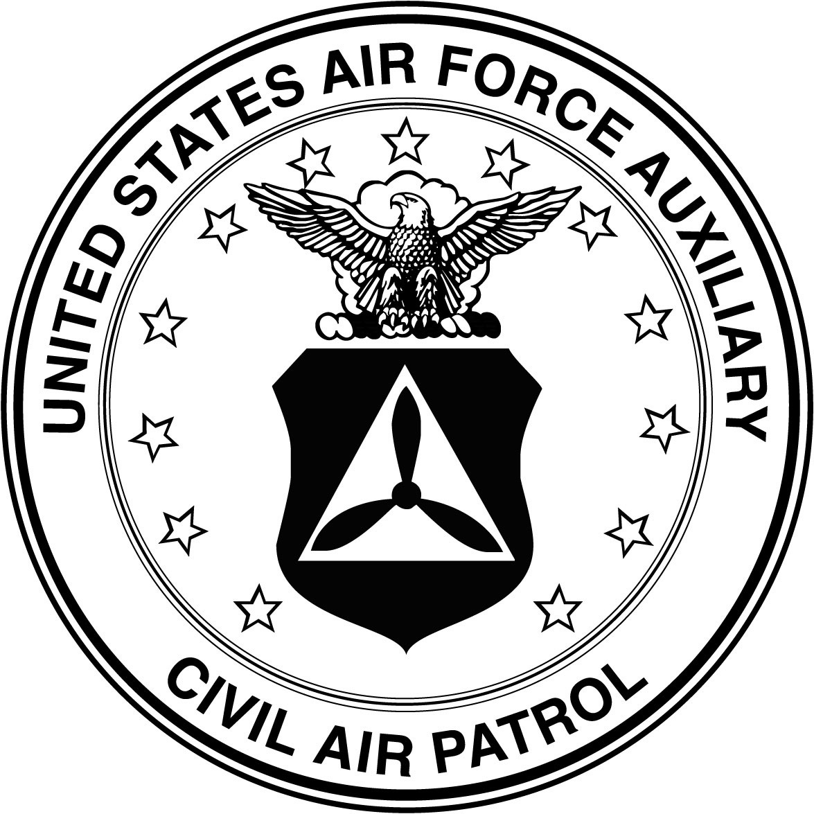 United States Air Force Auxiliary Civil Air Patrol Seal B W