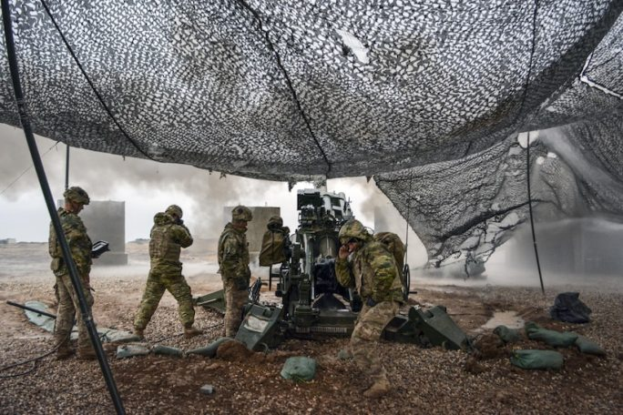 U.S. soldiers execute a fire mission to support Iraqi forces during the Mosul counteroffensive in northern Iraq, Dec. 24, 2016. The soldiers are assigned to Charlie Battery, 1st Battalion, 320th Field Artillery Regiment, and are supporting the Iraqis with indirect fire in their fight against the Islamic State of Iraq and Syria. Army photo by 1st Lt. Daniel Johnson