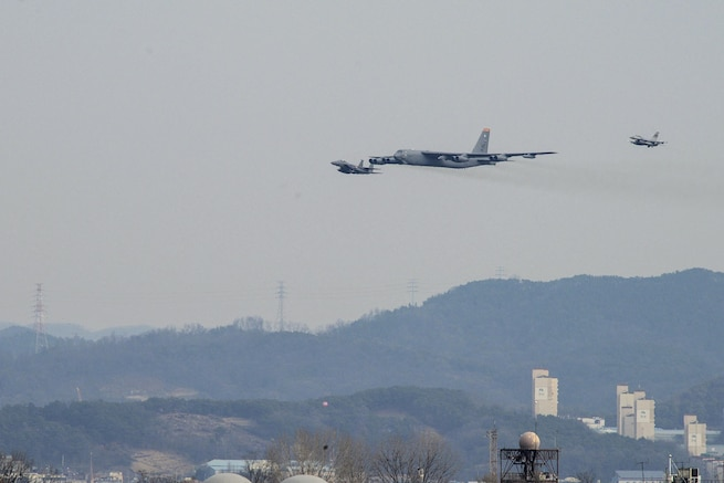 A U.S. Air Force B-52 Stratofortress conducted a low-level flight near Osan Air Base, South Korea, Jan. 10, 2016, in response to recent provocative action by North Korea. A U.S. F-16 Fighting Falcon and a South Korean F-15K jointed the B-52, assigned to Andersen Air Base Guam. U.S. Air Force photo by Airman 1st Class Dillian Bamman
