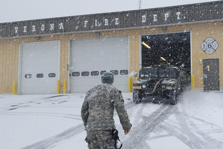 Virginia National Guard soldiers assigned to the Staunton-based Headquarters Company, 116th Infantry Brigade Combat Team, stage with the Verona Fire Department to be ready for possible winter weather response operations in Verona, Va., Jan. 22, 2016. U.S. Army photo by Sgt. Chris Martrano