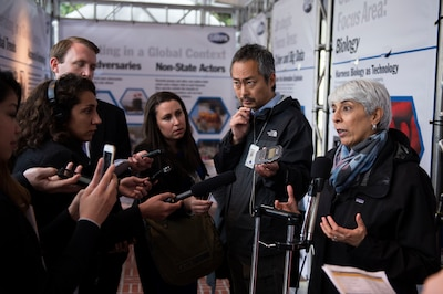 Defense Advanced Research Projects Agency Director Dr. Arati Prabhakar speaks with reporters during DARPA Demo Day 2016 at the Pentagon, May 11, 2016, to give the Defense Department community an up-close look at the agency's portfolio of innovative technologies and military systems, May 11, 2016. DoD photo by Marine Corps Sgt. Drew Tech