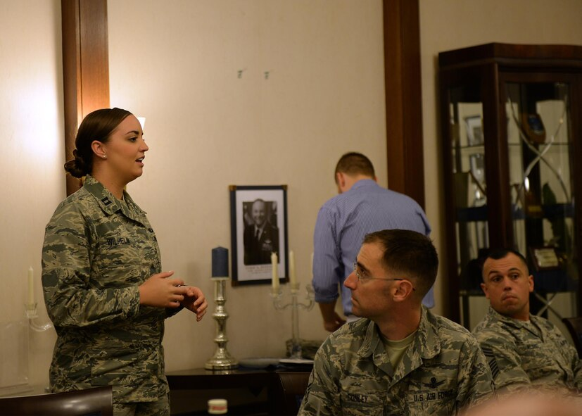 Capt. Lori Wilhelm, 86th Military Personnel Flight commander, tells a story at a mentoring luncheon at Ramstein Air Base, Germany, Oct. 5, 2016. During the luncheon company grade officers were able to ask questions and bring up concerns they had about the in enlisted corps. (U.S. Air Force photo by Senior Airman Jimmie D. Pike)