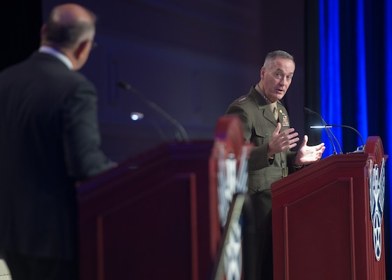Marine Corps Gen. Joe Dunford, chairman of the Joint Chiefs of Staff, speaks at the Air, Space, and Cyber conference hosted by the Air Force Association at National Harbor, Md., Sept. 21, 2016. DoD Photo by Navy Petty Officer 2nd Class Dominique A. Pineiro