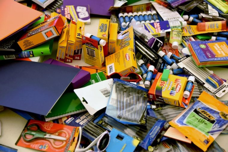 This is a pile of school supplies