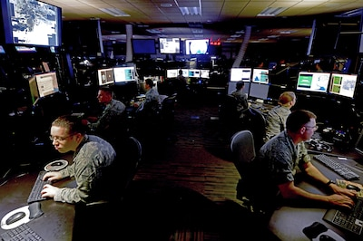 The Intelligence, Surveillance and Reconnaissance Division at the Combined Air Operations Center at al Udeid Air Base, Qatar, provides a common threat and targeting picture that are key to planning and executing theaterwide aerospace operations to meet the Combined Forces Air Component commander's objectives. They are also the means by which the effects of air and space operations are measured. Air Force photo