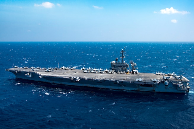 The aircraft carrier USS Carl Vinson transits the South China Sea March 2, 2017. Navy photo by Petty Officer 3rd Class Kurtis A. Hatcher