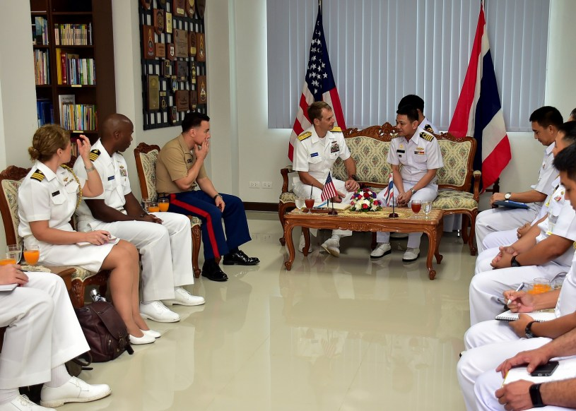 US and Thai rear admirals meet at a naval base in Thailand during training exercises.
