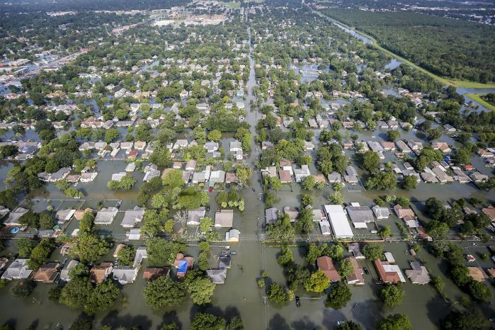 Extensive Flooding  An aerial view shows extensive flooding from Harvey in a residential area in Southeast Texas, Aug. 31, 2017. Air National Guard photo by Staff Sgt. Daniel J. Martinez  [https://www.defense.gov/observe/photo-gallery/igphoto/2002038221/] accessed on 29, Oct. 2020.