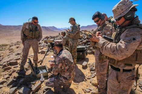 Marine Corps joint tactical air controllers work with Jordanian JTACs during a fire support coordination exercise in Jordan, April 23, 2018, as part of Eager Lion, a capstone training engagement for U.S. and Jordanian forces. Marine Corps photo by Cpl. Jon Sosner