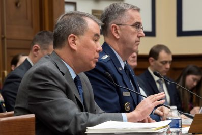 Undersecretary of Defense for Policy John C. Rood and Air Force Gen. John E. Hyten, commander of U.S. Strategic Command, testify before the House Armed Services Committee.