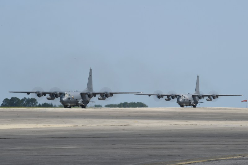 Two AC-130U Spooky gunships with the 4th Special Operations Squadron return from their final scheduled combat deployment at Hurlburt Field, Fla., June 8, 2019. (U.S. Air Force photo by Airman 1st Class Blake Wiles)