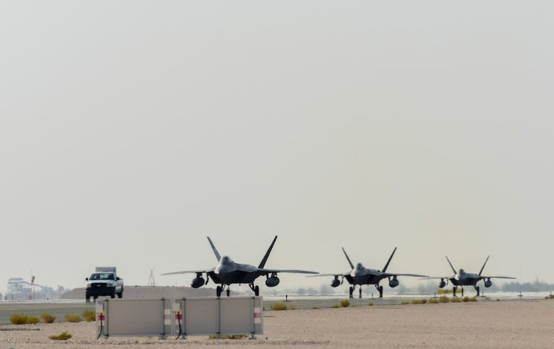 U.S. Air Force F-22 Raptor fighter jets arrive at Al Udeid Air Base, Qatar, June 27, 2019. (U.S. Air Force photo by Tech. Sgt. Nichelle Anderson)