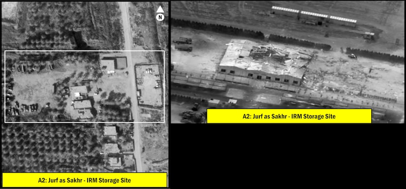 A weapons storage facility is shown both before and after a bombing.