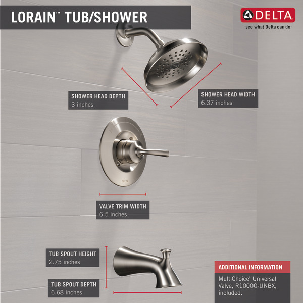 plumbing fixtures delta lorain 1 handle stainless tub shower faucet with valve 144716 ss faucets